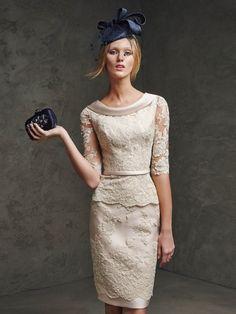 Sheath/Column 1/2 Sleeves Lace Scoop Sash/Ribbon/Belt Knee-Length Dresses - Lange Abendkleider - Abendkleider