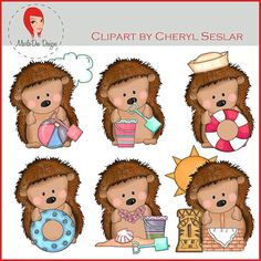 NEW Pepper the Hedgehog Loves the Beach Clipart by by marlodeedesigns, $1.25