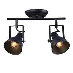 LNC Industrial Ceiling Light Fixture, 2-light Spotlight Track Light, Matte Black Finish