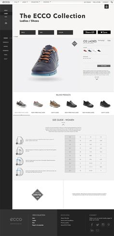 New website concepts for ecco shoes including social media elements such as an instagram feed and blog to share eccos culture and new products.