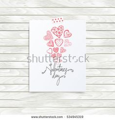 Folded in half sheet of paper with valentines day quote and set of red hearts. Mock up template vector illustration on wooden background. Hand drawn red hearts. Flyer, booklet, poster concept