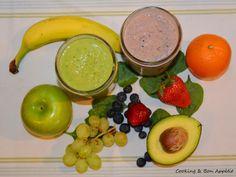 Crazy smoothie : green vs pink #spinach #grape #apple #banana #orange #blueberry #strawberry #avocado #detox #healthy #energy