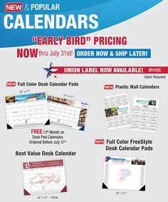 Early Bird Pricing on Calendars from Bebco!