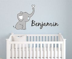 Cute Elephant Name Personalized Fabric Repositionable Wall Decal