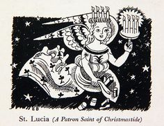 """""""St Lucia (A Patron Saint of Christmastide)"""" by Edward Bawden for Fortnum & Mason, Piccadilly, London"""
