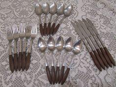 Ekco Eterna 20 Piece Canoe Muffin Silverware Set Service For 5 Stainless Japan #EkcoEterna