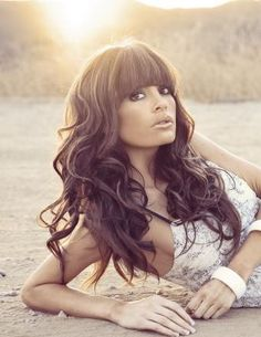 Haute hair - stunning bangs / fringe style with long curly hair. Beautiful.