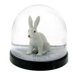 Magical white rabbit snow dome, shake it and let it snow!