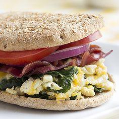 Skinny Mom | Recipe: Turkey Bacon, Egg White, Spinach Breakfast Sandwich