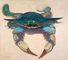 Crabs kind of scare me but I love all the blues in this painted one by artist Christine Dougherty.