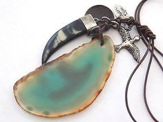 Chan Luu Natural Green AGATE Stone Bird Faux Black Tigers TOOTH Leather Necklace - http://designerjewelrygalleria.com/chan-luu/chan-luu-natural-green-agate-stone-bird-faux-black-tigers-tooth-leather-necklace/