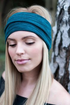 Teal Head Wrap Knit Headband Blue and Black Ear by ColorOnMaterial