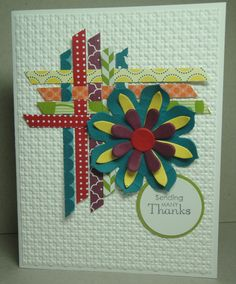 Cute card with strips of Designer Series Paper. Card by Klompen Stampers (Stampin' Up! Demonstrator Jackie Bolhuis)