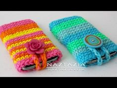▶ Learn How to Crochet Easy Cell Phone Tablet Case Cozy Holder (iPhone, iPod, Samsung, Smartphone) - YouTube
