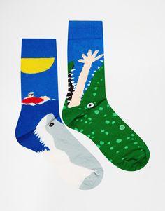 Bild 1 von ASOS – Socken mit Hai- und Krokodilmotiv im 2er-Pack