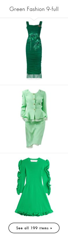 """Green Fashion 9-full"" by franceseattle ❤ liked on Polyvore featuring dresses, dolce & gabbana, green, evening dresses, embellished cocktail dress, sweetheart neckline cocktail dress, evening cocktail dresses, green bodycon dress, suits and satinee"