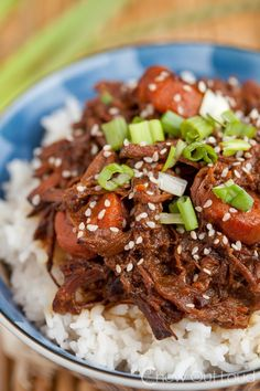This Sweet Korean BBQ Beef is done up in the slow cooker. Savory, sweet, tangy, and tender beef. Perfect for busy weeknights.