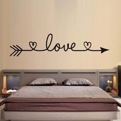 DCTOP Love Arrow Wall Stickers Romantic Bedroom Decals Vinyl Removable  Wallpaper Home Decoration Living Room Decal