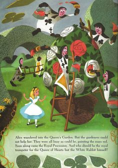 """""""They were all busy as could be, painting the roses red"""" Alice in Wonderland Big Golden Book by Al Dempster Lewis Carroll, Adventures In Wonderland, Alice In Wonderland, Go Ask Alice, Painting The Roses Red, Garden Illustration, Through The Looking Glass, Fantasy World, Animal Crossing"""
