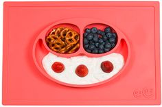 Less mess plate. Sticks to the table. Of course invented by a mom. So smart!