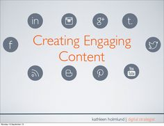 creating-engaging-content-social-media by Kathleen Holmlund via Slideshare Image Tips, Best Practice, Social Media Channels, Storytelling, Infographic, Content, Digital, Create, Organisation