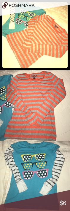Girl's Tops Girl's tops, blue sunglasses is a size 7, brand is Copper key, the orange and grey striped is a size Medium (8), brand is Old Navy - great condition Shirts & Tops Tees - Long Sleeve