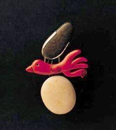 Joaquim CAPDEVILA-  brooch - silver, japanese lacquer, stone