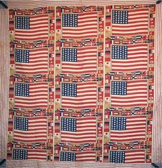 Happy Birthday America--celebrate with an antique Centennial quilt. This one is made with 15 commemorative kerchiefs that show the American flag framed by the flags of all the nations that exhibited at the Centennial Exhibition in Philadelphia in Antique Quilts, Vintage Quilts, American Flag Quilt, Small Flags, Patriotic Quilts, Blue Quilts, Quilt Top, American History, American Life