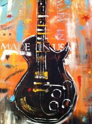 One of a kind Paintings - My Artful Joy  Orange Guitar-Made in the USA