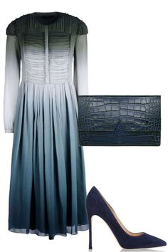 Burberry dress, $2,295, thecorner.com; Vince clutch, $445, shopBAZAAR.com; Gianvito Rossi pump, $660, shopBAZAAR.com.