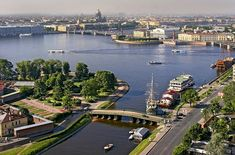 Panorama of the Neva River next to the Peter and Paul Fortress in St Petersburg, Russia