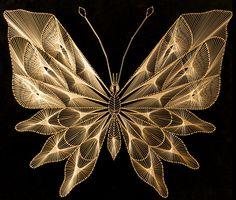 zelfgemaakt, vlinder van gouddraad, stringart | homemade butterfly gold thread, string art
