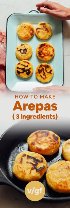Perfect Arepas with step by step photos, 3 ingred, 30 minutes, 1 bowl Baker Recipes, Gluten Free Recipes, Vegetarian Recipes, Cooking Recipes, Healthy Recipes, Polenta, Pan Sin Gluten, Tapas, Minimalist Baker