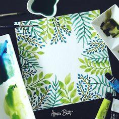 acuarela planta hierba verde azul