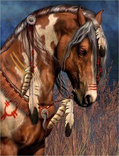 "NATIVE SPIRIT PAINTED WAR HORSE FEATHERS INDIAN VINTAGE ""CANVAS* ART PRINT #Vintage"