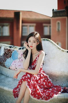 only Red Floral Dress Cute Fashion, Asian Fashion, Fashion Models, Girl Fashion, Beautiful Girl Image, Beautiful Asian Girls, Korean Beauty, Asian Beauty, Mein Style