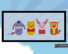 Winnie the Pooh parody Cross stitch PDF patterb door cloudsfactory/hama perler beads Disney Cross Stitch Patterns, Cross Stitch For Kids, Mini Cross Stitch, Cross Stitch Designs, Cross Stitching, Cross Stitch Embroidery, Embroidery Patterns, Motifs Perler, Perler Patterns