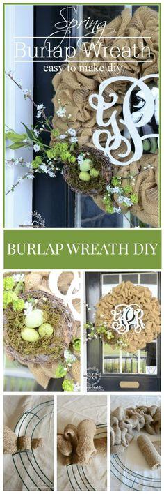 SPRING BURLAP WREATH DIY- easy to make and so pretty stonegableblog.com