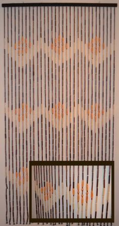 """Natural Bamboo & Wood Beaded Curtain, W Pattern , 35.25"""" W X 70"""" H Item # 69-719 by GinsonWare. $20.99. Great use for doorways and windows; it provides privacy while enhancing the appearance of rooms. Hang as decoration on bedroom walls for contemporary yet classic look. Includes a sturdy wooden crossbeam and eyelets for easy mounting anywhere. Handmade with 31 strands. Fit any standard door. Size: 35.25"""" W x 70"""" H. Great use for doorways and windows; it provides ..."""