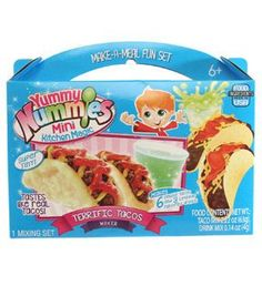 The Terrific Tacos Maker lets you create tacos made mini, topped off with taco sauce and cheesy flavoring. Kit includes 1 kitchen magic tray, 1 instruction sheet, 1 tortilla packet, 1 meat flavor pack