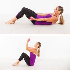 Barre Workout: Teaser Biceps Curl - Home Workout Plan: 7 Ballet-Inspired Moves for Long, Lean Muscles - Shape Magazine Barre Exercises At Home, Cardio Workout At Home, At Home Workouts, Barre Workouts, Fitness Exercises, Exercise Moves, Pilates Workout, Workout Plans, Workout Ideas