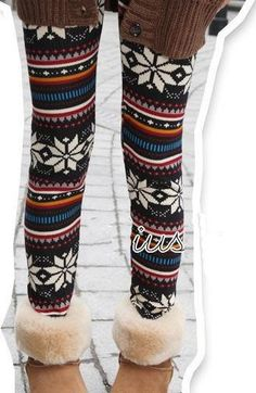 Stretched Christmas Winter Woven Leggings Pants