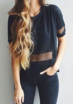 All black top with sheer panel