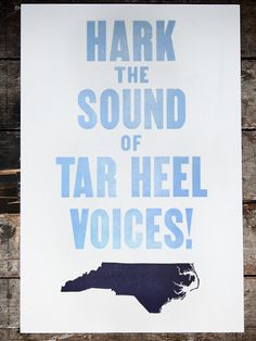 Hark the Sound of Tar Heel Voices! -- Great decor for University of North Carolina at Chapel Hill fans. | theoldtry.com