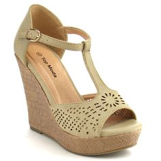 Beston Cc21 T-strap Wedge Sandals (Taupe-5) Women's
