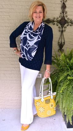 50 Is Not Old | Tips For Looking Your Best | Navy & White | Fashion over 40 for the everyday woman #classicclothing #popofcolor #accessories