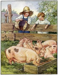 Boys Feeding Pigs Piglets Digital Download Clara M Burd Vintage Printable Art Storybook Illustration JPG Image
