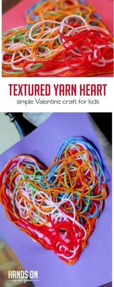Textured Yarn Heart Craft for Decoration via @handsonaswegrow