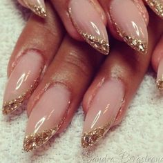 Almond Nails French, French Nails, Best Acrylic Nails, Acrylic Nail Designs, Nail Art Designs, Glitter Tip Nails, Shellac Nails, Matte Nails, Almond Nails Designs