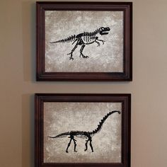 Dinosaur art for Jack's room.  I used acrylic paint on burlap canvas .  #DIY #Dinosaurs #KidsBedroom